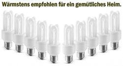 10x OSRAM Energiesparlampe 3U 11W E27 warmweiß für 16,99 € inkl. VSK