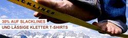 Für Aktive: 30% auf Slacklines und Kletter-Shirts, Slackline-Sets ab 39€