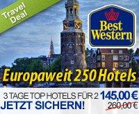 145 statt 260* Euro für 2 Personen und 3 Tage inkl. Frühstück in über 250 Best Western Hotels – Europaweit