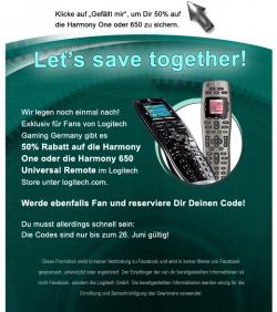 50 % direkt beim Hersteller – Logitech Harmony One für nur 89,50€ – über facebook Gutschein