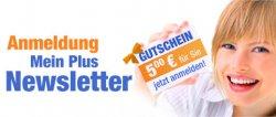 5€ Gutschein für Newsletteranmeldung bei Plus.de