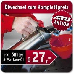 bei ebay: Ölwechsel bei ATU inkl. Öl, Ölfilter, Dichtungen und Entsorgung ab 27€!