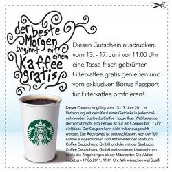 Gratis Filterkaffee bei Starbucks in der Zeit vom 13. bis zum 17. Juni