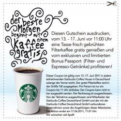GRATIS: Starbucks Kaffee mit Coupon