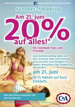 Offline: 20% auf alles bei C&A am 21. Juni