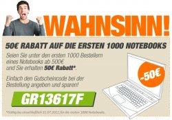 50 Euro Rabatt auf die ersten 1000 Notebooks!
