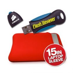 Corsair 16GB Voyager USB Stick mit 15 Zoll Laptop Tasche für ca. 17,4€