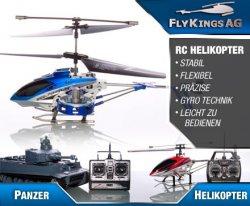DAILYDEAL 25€ statt 90 Euro für einen funkgesteuerten Helikopter oder Panzer