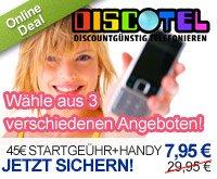 Discotel: Handy + 45 € Startguthaben für 7,95 € mit Supertarif