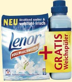 Lenor Vollwaschmittel 18WL + gratis Lenor Weichspüler 750ml für 1,49€ bei IhrPlatz oder 1,99€ bei Schlecker