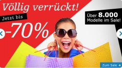 Völlig verrückt! Über 8000 verschiedene Schuhe bis zu 70% reduziert & 10€ Gutschein & versandkostenfreie Lieferung!