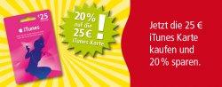 iTunes-Geschenkkarte im Wert von 25€ für 20€ bei Rewe