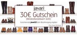 [Wieder verfügbar] 30 EUR (!!!) Gutschein für Amazons Schuhshop javari, Mindestbestellwert 60 EUR