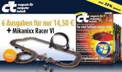 6 Ausgaben c't + Rennbahn für 14,50 €