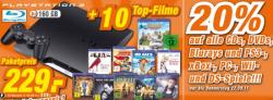 HAMMER: PS3 Slim 160GB + 10 Blu-Rays nur 229€
