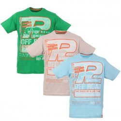 Men´s 3 Pack Short Sleeve Race Printed T-Shirt – Blue, Stone, Green für 6,45 Euro