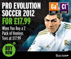 Pro Evolution Soccer 2012 (PS3, Xbox) + 2er Pack Henleys Shirts für 39€