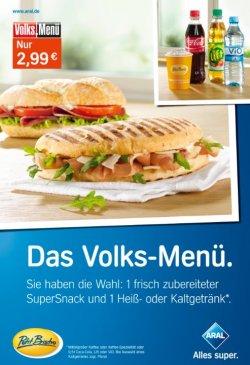 Volks-Menü (1 SuperSnack + Kaffee / Kaffeespezialität / Softgetränk) bei Aral 2,99€