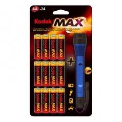 24x Kodak Max Alkaline AA-Batterien + LED-Taschenlampe für 8,39€