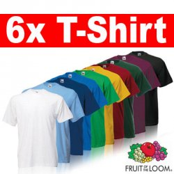 6x FRUIT OF THE LOOM T-Shirts Gr. S M L XL XXL XXXL 3XL für 15,49€