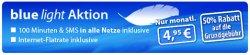 """Beim Anbieter Eteleon 50% der Grundgebühr beim """"blue light Vertrag"""" im O2 Netz sparen: 100 Freiminuten, 100 Frei-SMS und Internetflatrate für nur 4,95 € im Monat!"""