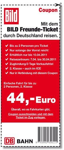 BILD Freunde Ticket Coupon online! 2 Personen für 44€ quer durch Deutschland!