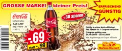 Gutschein Coca Cola 1,25 l – 0,69 €uro statt 0,99 € bei Netto-Markt
