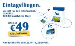 Heute ab 10 Uhr: Condor Eintagsfliegen, günstige Flüge ab 49 EUR inkl. Steuern und Gebühren
