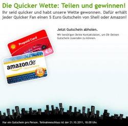 Knaller: 5 Euro Gutschein fuer Amazon oder Shell gratis