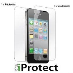 """ORIGINAL iProtect iPhone 4 / 4S """"CrystalClear"""" 3 x VORDERseite + 1 x RÜCKseite Displayschutz für 2,99 bei Amazon"""