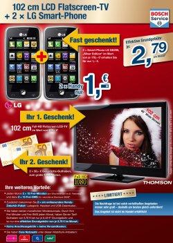 102cm LCD Flatscreen-TV (gartis) mit 2xLG Smart-Phone für nur je 2,79Euro GG (Streng limitiert!) bei handyhandy.de