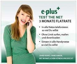 3 Monate unbegrenzt Telefonieren-Simsen-und Surfen mit 3 E-plus-Flatrates ohne Vertragsbindung für nur 24,95 statt 240 Euro (DailyDeal)