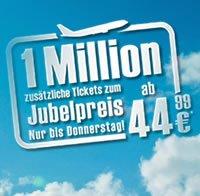 airberlin – 1 Mio. zusätzliche Tickets ab 44,99€  nur bis Donnerstag