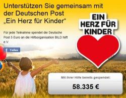 Ein Herz für Kinder: Fan bei der Deutschen-Post werden und die Deutsche-Post spendet 5 €