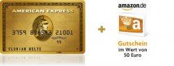 Kostenlose Kreditkarte (American Express) + 50€ Amazon Gutschein