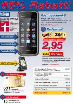 """NOKIA 5230 """"Black Edition"""" + Navisoftware + KFZ-Halterung + 50€ Guthaben + 15 FreiSMS + 15 Freiminuten"""