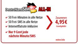 Ohne Vertragsbindung: Nur 4,95 € für Internet-Flat + 50 Freiminuten + 50 Frei-SMS (DeutschlandSIM All-In)