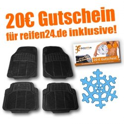 Rubber Queen 4er Set Gummi-Autofussmatten-Universalgrösse plus 20 Euro Gutschein für Reifen.de