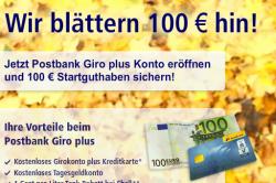 wieder 100 Euro als Gutschrift für das Postbank Girokonto, täglich zwischen 19 und 20 Uhr