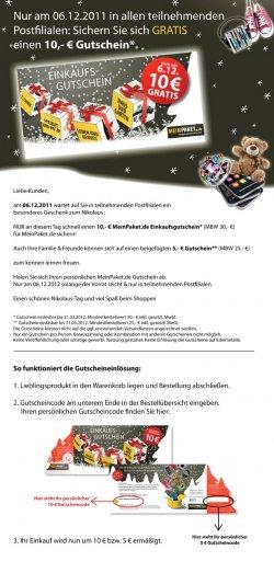 10 € MeinPaket Gutschein in allen Postfilialen zum Nikolaus