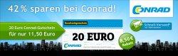 20€ conrad Gutschein für 11,50€ bei quicker.com
