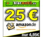 25,00€ amazon Gutschein beim Kauf einer klarmobil PostPaid SIM-Karte (15€ Guthaben) für 4,95€ bei ebay