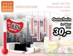 30,- EUR Gutschein für individuelle Wandgestaltung von YourDecoShop