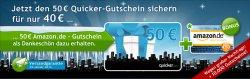 50€ amazon Gutschein für 40€ bei quicker.com kaufen (15.000 Stück)