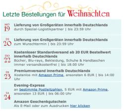 Amazon Bestellfristen zu Weihnachten
