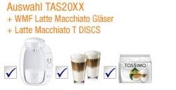 Bosch Tassimo + 2x Latte + 2 Latte Gläser bei amazon für 62,15 €