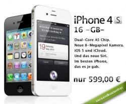 Knaller: Das neue Apple iPhone 4S 16 GB in schwarz oder weiss nur 539,10 inkl. Versand bei DailyDeal.de