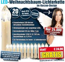 LED-Weihnachtsbaum-Lichterkette mit 20 LED-Kerzen Gratis!