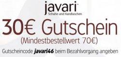 Neuer Javari-Gutschein: 30 € mit 70 € MBW (gültig bis 14.12.2011) – der Schuh-Shop von Amazon