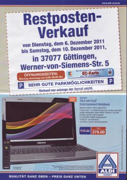 """Restposten Verkauf ALDI NORD Göttingen – z.B. 15,6"""" MEDION AKOYA P6812 mit Intel i3, 4GB Ram…für 379€ statt 549€ uvm.!"""